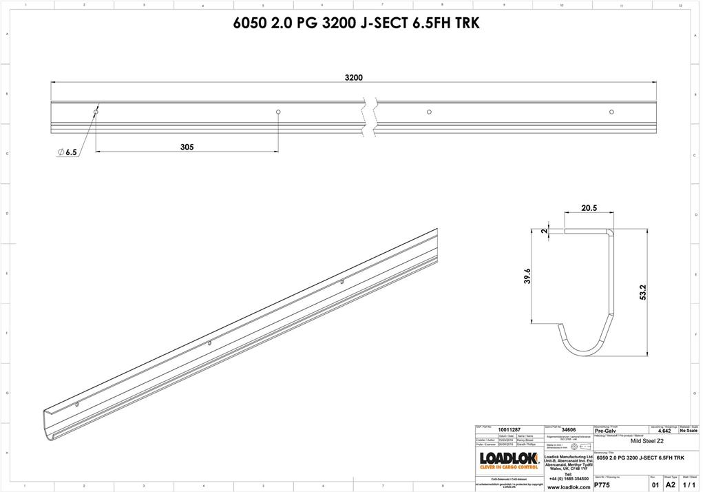 J Channel Pre Galv. 2mm Track 3200mm