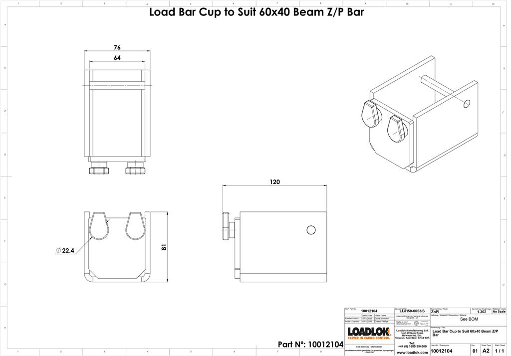 Load Bar Cup to Suit 60x40 Beam Z/P Bar