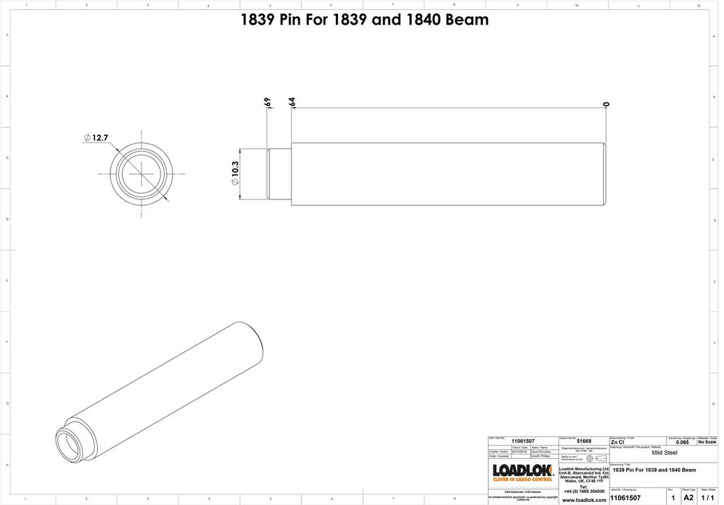 1839 Pin for 1839 and 1840 Beam