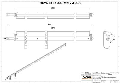 3009 Garment Rail w/ Top Rail 2480-2525
